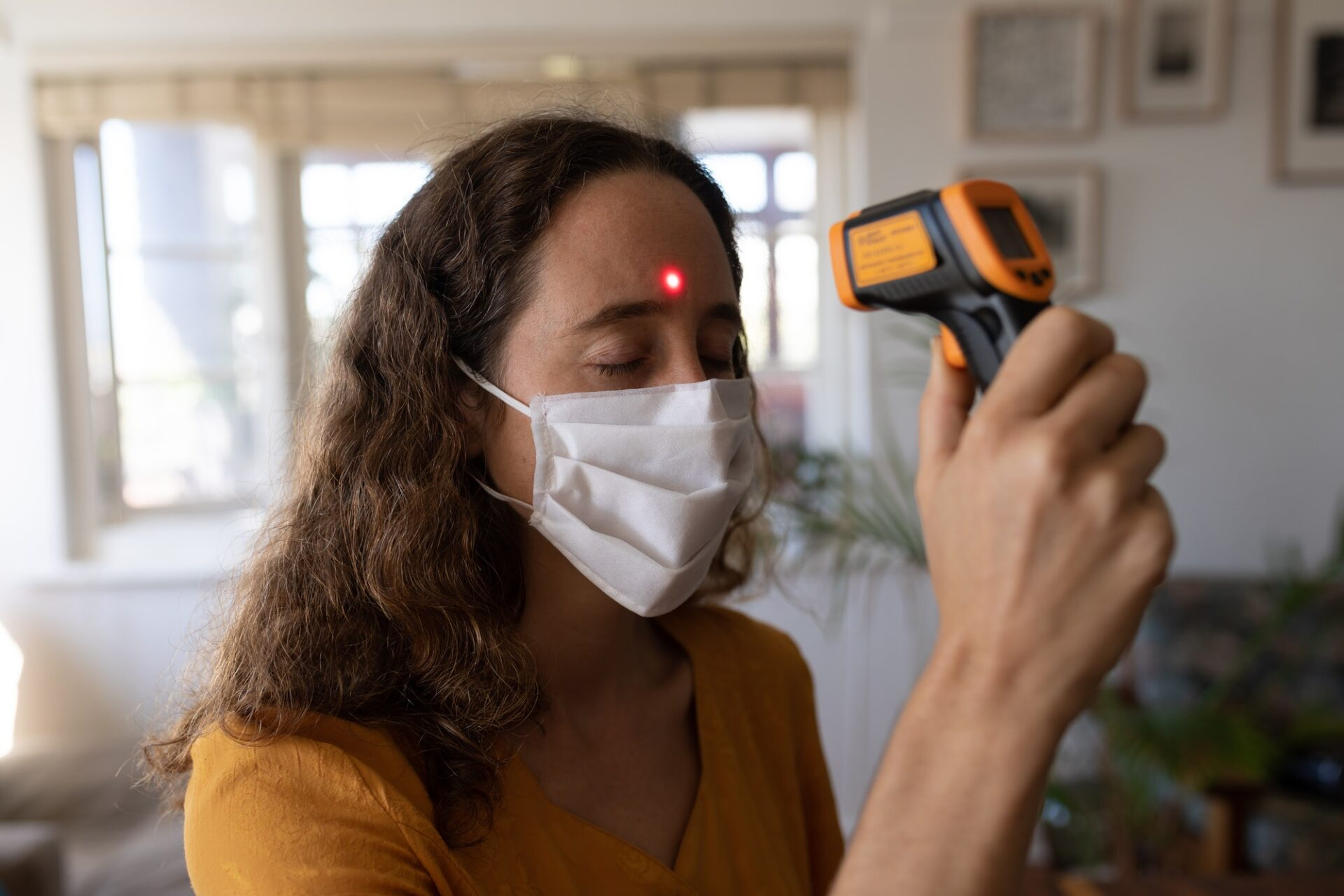 Caucasian woman self isolating at home during coronavirus covid19 pandemic
